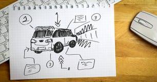 van car在纸的手图画剪影  库存照片