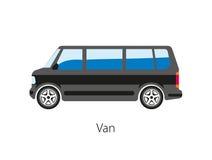 Van car isoleerde op wit Wegvoertuig dat voor het vervoeren wordt gebruikt Royalty-vrije Stock Afbeelding