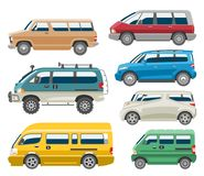 Van car vector auto vehicle minivan family minibus vehicle and automobile banner isolated citycar set on white. Minivan car vector van auto vehicle family Stock Photography