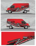 Van car and vehicle decal Graphics Kit designs. Professional graphics design decal kits for van vehicle and truck Truck and vehicle decal Graphics Kits design stock illustration