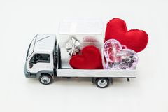 Van carrying the heart and the love Stock Photo