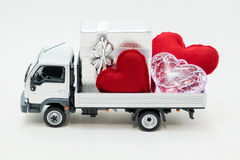 Van carrying the heart and the love Stock Photos