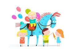 Van circuspaard en Jonge geitjes Vakantie stock illustratie