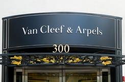 Van Cleef et extérieur de magasin de détail d'Arpels Image stock