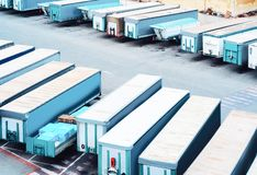 Van containers and Cargo Shipping in shipard. And port of Cagliari of Sardinia Island, Italy stock photo