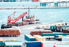 Van containers and Cargo Shipping in shipard. And port of Cagliari on Sardinia Island, Italy stock image
