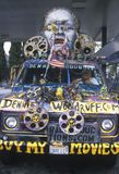 Van converted into a decorated mobile movie studio, California Stock Photos
