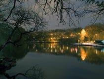 Van Cortlandt Park alla notte nell'inverno Immagine Stock