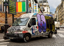 Van covered in Graffiti Royalty Free Stock Photos
