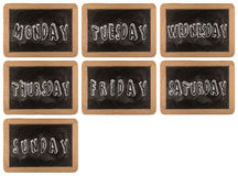 van 7 dagen van week op schoolbord achtergrondtexturen met oude vintag Stock Foto's