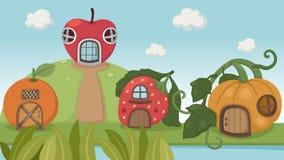 Van de aardbeihuis en pompoen huis en oranje hous Stock Afbeelding