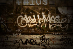 Van de Achtergrond bakstenen muur van Grunge van Graffiti Textuur Royalty-vrije Stock Fotografie