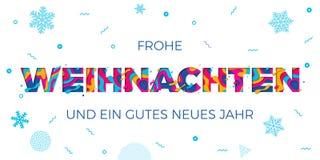 Van de Achtergrond Kerstmis Duitse groet van Froheweihnachten de Vrolijke gravure de kaart van de vectorpapercutkleur Royalty-vrije Stock Foto