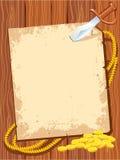 Van de achtergrond piraat document met mes en gouden geld Stock Foto