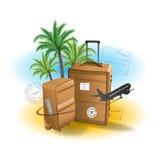 Van de achtergrond reiskoffer de zomerstrand Royalty-vrije Stock Afbeeldingen