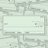 Van de Achtergrond stapel van de blanco cheque Open plek voor Tekst Stock Foto's