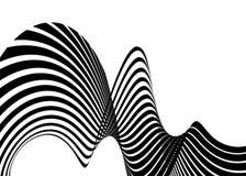 Van de achtergrond streepgolf ontwerp met zwart-witte lijnen 3d optisch op art. Vector illustratie royalty-vrije illustratie