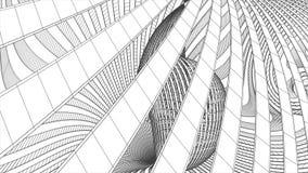 Van de van de de achtergrond tekeningsanimatie van net netto veelhoekige wireframe abstracte 3d spiraalvormige de grafiek retro w vector illustratie