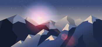 Van de achtergrond voorraad vectorillustratie horizontaal berglandschap in vlakke stijl stock illustratie