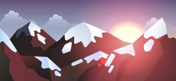 Van de achtergrond voorraad vectorillustratie horizontaal berglandschap in vlakke stijl vector illustratie