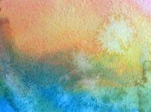 Van van de achtergrond waterverfkunst blauwe violette kleurrijke geweven slagen de abstracte hemelwolken Royalty-vrije Stock Foto