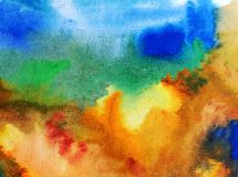 Van van de achtergrond waterverfkunst blauwe violette kleurrijke geweven slagen de abstracte hemelwolken Royalty-vrije Stock Afbeeldingen