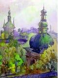 Van de van de achtergrond waterverfkunst van de de kathedraal historische godsdienst de abstracte oriëntatiepuntkerk de architect stock illustratie