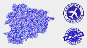Van de Aerocollage Vector van Andorra de Kaart en van Grunge Verbindingen vector illustratie