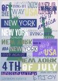 Van de Affiche de 4TH Juli van New York de V.S. NYC Uitgave van de de Onafhankelijkheidsdag Stock Afbeelding