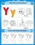 Van de alfabet het leren en kleur brief Y stock illustratie