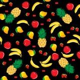 Van de de appelaardbei van de mangoananas van de de banaankers de mengelingsvruchten naadloos patroon op zwarte achtergrond Royalty-vrije Stock Foto's