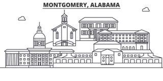 Van de de architectuurlijn van Alabama, Montgomery de horizonillustratie Lineaire vectorcityscape met beroemde oriëntatiepunten,  Stock Afbeelding