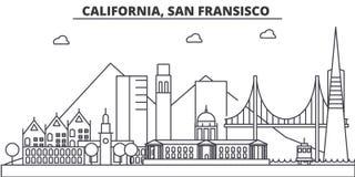 Van de de architectuurlijn van Californië, San Francisco de horizonillustratie Lineaire vectorcityscape met beroemde oriëntatiepu Royalty-vrije Stock Afbeeldingen