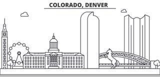 Van de de architectuurlijn van Colorado, Denver de horizonillustratie Lineaire vectorcityscape met beroemde oriëntatiepunten, sta Stock Afbeelding
