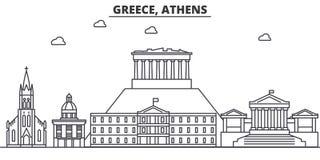 Van de de architectuurlijn van Griekenland, Athene de horizonillustratie Lineaire vectorcityscape met beroemde oriëntatiepunten,  vector illustratie