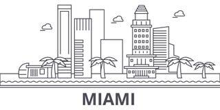 Van de de architectuurlijn van Miami de horizonillustratie Lineaire vectorcityscape met beroemde oriëntatiepunten, stadsgezichten Stock Foto's