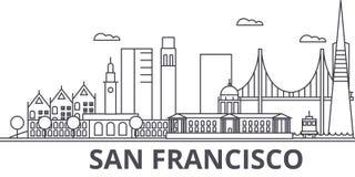 Van de de architectuurlijn van San Francisco de horizonillustratie Lineaire vectorcityscape met beroemde oriëntatiepunten, stadsg Stock Fotografie