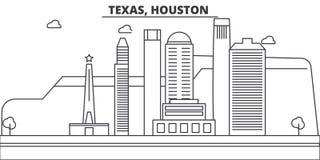 Van de de architectuurlijn van Texas, Houston de horizonillustratie Lineaire vectorcityscape met beroemde oriëntatiepunten, stads vector illustratie