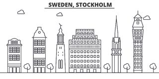 Van de de architectuurlijn van Zweden, Stockholm de horizonillustratie Lineaire vectorcityscape met beroemde oriëntatiepunten, st royalty-vrije illustratie