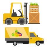 Van de auto'svoertuigen van de vrachtwagenslader vector verschepend de ladingsvervoer per het voertuigspoor van de weglevering me Stock Afbeeldingen