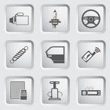 Van de autodeel en dienst geplaatste pictogrammen. Royalty-vrije Stock Afbeeldingen