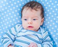 2 van de babymaanden oud jongen thuis Stock Foto's