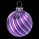 Van de de bal het purpere violette close-up van decoratiekerstmis gestreepte decor stock illustratie