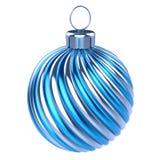 Van de bal Vrolijke Kerstmis van snuisterijkerstmis van de de decoratieclose-up zilveren blauwe gestreept vector illustratie