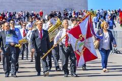 Van de de Banner 100ste Verjaardag van pelgrimsgelovigen de Basiliek van Apparations Stock Fotografie