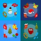 Van de de Bannerkaart van de Kerstmisviering de Vastgestelde 3d Isometrische Mening Vector vector illustratie