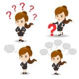 Van de bedrijfs beeldverhaalillustratie vrouwenvraag Stock Fotografie