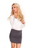 Van de bedrijfs blonde sexy dame Stock Afbeeldingen