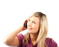 Van de bedrijfs blonde vrouw die op telefoon spreekt Stock Afbeelding