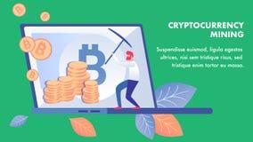 Van de Bedrijfs cryptocurrencymijnbouw Bannermalplaatje royalty-vrije illustratie